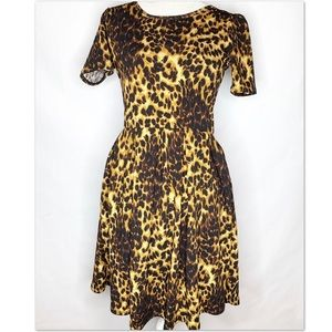 LuLaRoe Amelia Leopard Print Dress Fit N Flare